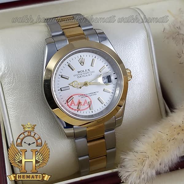 خرید اینترنتی ساعت مردانه رولکس دیت جاست Rolex Datejust RODJM405 نقره ای طلایی ، دور قاب ساده ، ایندکس خط