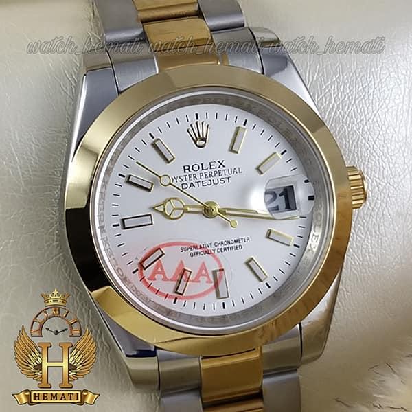 خرید انلاین ساعت مردانه رولکس دیت جاست Rolex Datejust RODJM405 نقره ای طلایی ، دور قاب ساده ، ایندکس خط