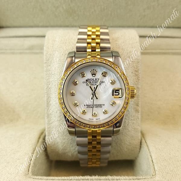 قیمت ساعت زنانه رولکس دیت جاست Rolex Datejust RODJL32501 نقره ای طلایی ، دور قاب نگین ، قطر 32 میلیمتر