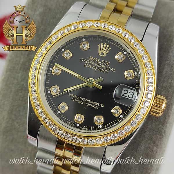 خرید انلاین ساعت زنانه رولکس دیت جاست Rolex Datejust RODJL32501 نقره ای طلایی ، دور قاب نگین ، قطر 32 میلیمتر