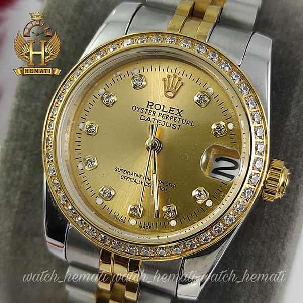خرید ارزان ساعت زنانه رولکس دیت جاست Rolex Datejust RODJL32501 نقره ای طلایی ، دور قاب نگین ، قطر 32 میلیمتر