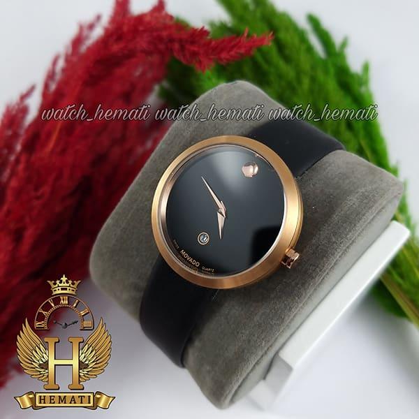 خرید ارزان ساعت زنانه موادو MOVADO 83 G1 1618L 8796297 قاب رزگلد با بند چرم مشکی