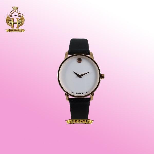 خرید ، قیمت ، مشخصات ساعت زنانه موادو MOVADO 83 G1 1699L 862622 قاب رزگلد بند چرم مشکی