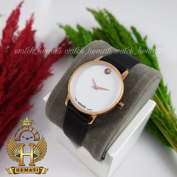 خرید اینترنتی ساعت زنانه موادو MOVADO 83 G1 1699L 862622 قاب رزگلد بند چرم مشکی