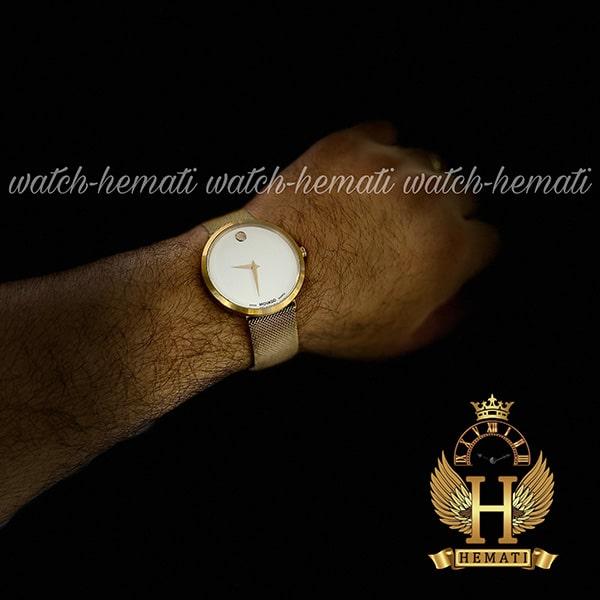 خرید اینترنتی ساعت مردانه موادو MOVADO 83 G1 1688M 8796297 بند حصیری قفل مگنتی رنگ رزگلد