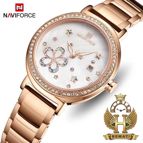 خرید اینترنتی ساعت زنانه نیوی فورس مدل naviforce nf5016l قاب و بند رزگلد