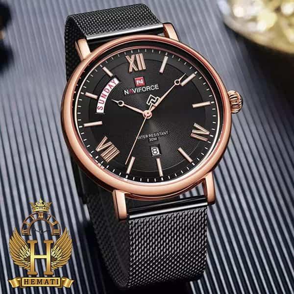 مشخصات ساعت مردانه نیوی فورس مدل naviforce nf3006m مشکی رزگلد