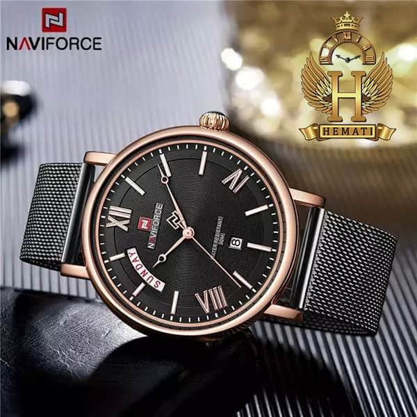 خرید اینترنتی ساعت مردانه نیوی فورس مدل naviforce nf3006m مشکی رزگلد