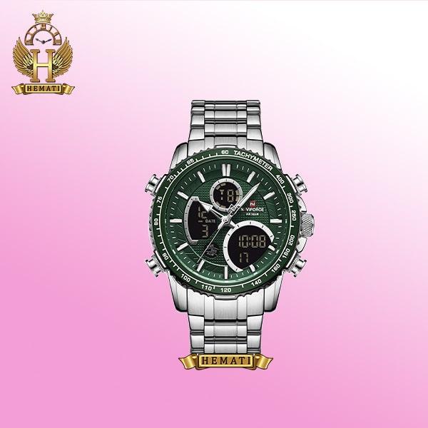 ساعت نیوی فورس مردانه NF9182M نقره ای صفحه سبز