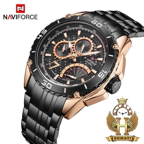 خرید ارزان ساعت مردانه نیوی فورس مدل naviforce nf9183m مشکی رزگلد سه موتوره