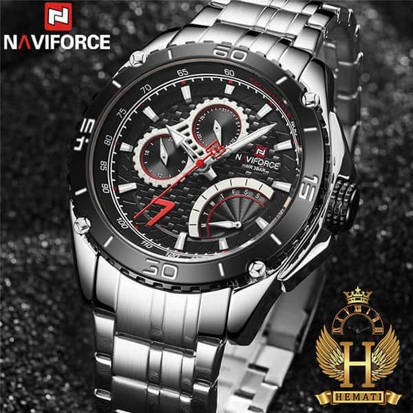 خرید ساعت مردانه نیوی فورس مدل naviforce nf9183m نقره ای مشکی سه موتوره