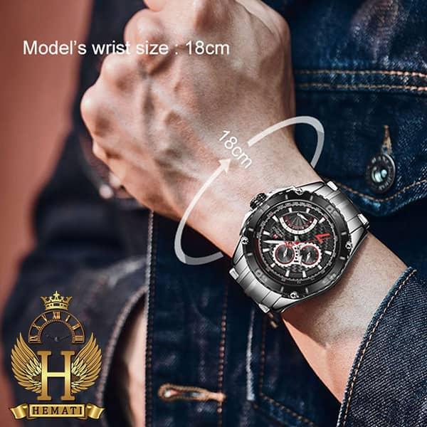 خرید اینترنتی ساعت مردانه نیوی فورس مدل naviforce nf9183m نقره ای مشکی سه موتوره