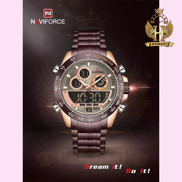 خرید ساعت مردانه دو زمانه نیوی فورس مدل naviforce nf9188m کافی رزگلد