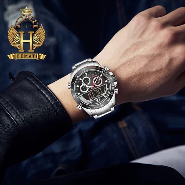 خرید اینترنتی ساعت مردانه دو زمانه نیوی فورس مدل naviforce nf9188m نقره ای مشکی