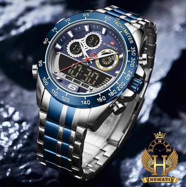 نمایندگی ساعت مچی مردانه دو زمانه نیوی فورس مدل naviforce nf9188m نقره ای آبی