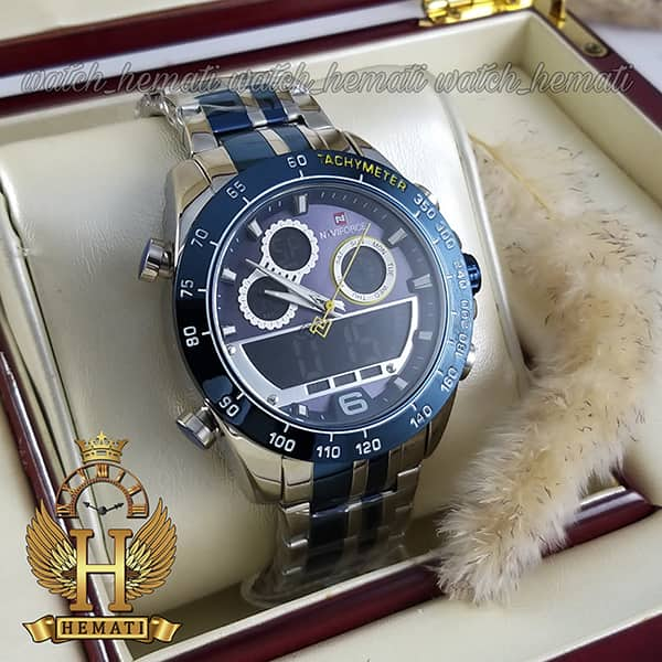 خرید انلاین ساعت مچی مردانه دو زمانه نیوی فورس مدل naviforce nf9188m نقره ای آبی