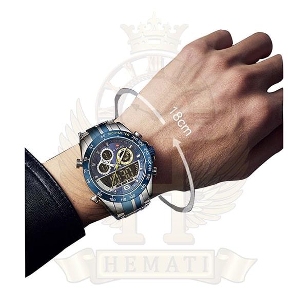 خرید ساعت مردانه دو زمانه نیوی فورس مدل naviforce nf9188m نقره ای آبی