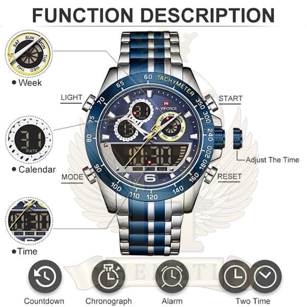 قیمت ساعت مردانه دو زمانه نیوی فورس مدل naviforce nf9188m نقره ای آبی