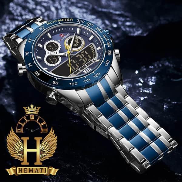 خرید انلاین ساعت مردانه دو زمانه نیوی فورس مدل naviforce nf9188m نقره ای آبی
