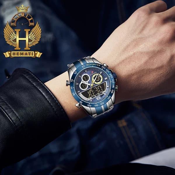 خرید ساعت مچی مردانه دو زمانه نیوی فورس مدل naviforce nf9188m نقره ای آبی
