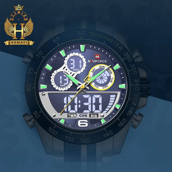 خرید اینترنتی ساعت مردانه دو زمانه نیوی فورس مدل naviforce nf9188m نقره ای آبی