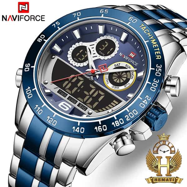 قیمت ساعت مشخصات مردانه دو زمانه نیوی فورس مدل naviforce nf9188m نقره ای آبی