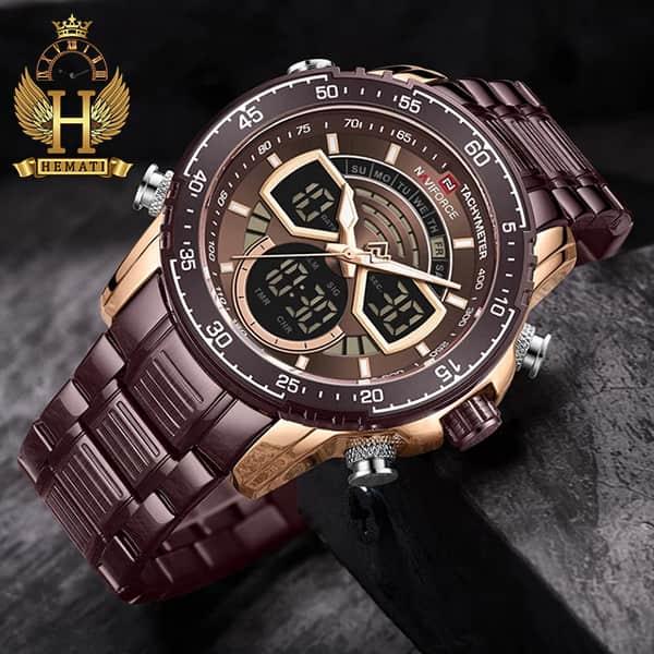 مشخصات ساعت مردانه دو زمانه نیوی فورس مدل naviforce nf9189m کافی رزگلد