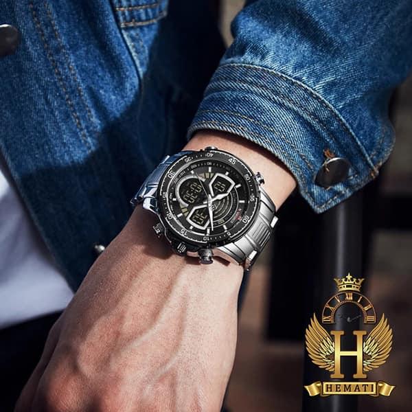 ساعت مردانه دو زمانه نیوی فورس مدل naviforce nf9189m نقره ای