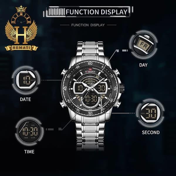 مشخصات ساعت مردانه دو زمانه نیوی فورس مدل naviforce nf9189m نقره ای