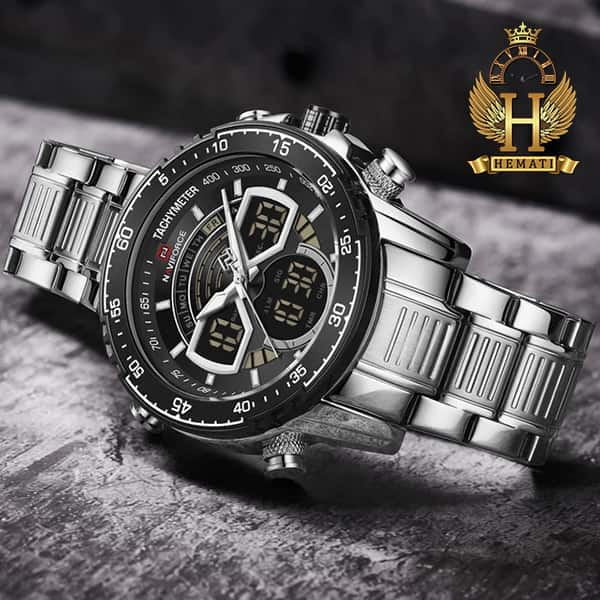 خرید ساعت مردانه دو زمانه نیوی فورس مدل naviforce nf9189m نقره ای