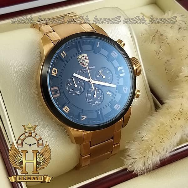 خرید ، قیمت ، مشخصات ساعت مردانه پورشه دیزاین بند فلز PORSCHE DESIGN JP-24056M POD200 قاب و بند رزگلد ، صفحه و دور قاب مشکی
