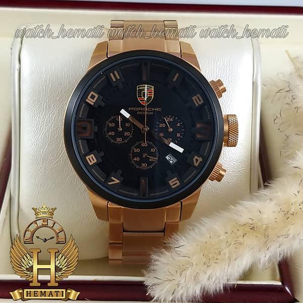 خرید اینترنتی ساعت مردانه پورشه دیزاین بند فلز PORSCHE DESIGN JP-24056M POD200 قاب و بند رزگلد ، صفحه و دور قاب مشکی