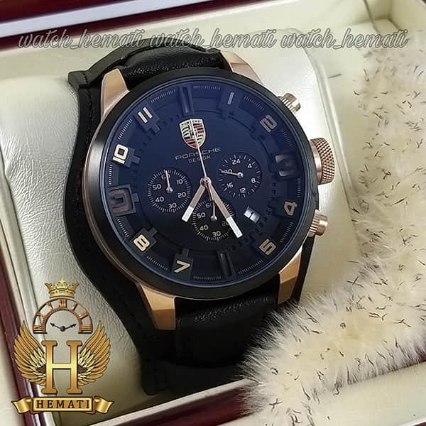 خرید ، قیمت ، مشخصات ساعت مردانه پورشه دیزاین PORSCHE DESIGN JP-24056M POD100 بند چرم مشکی ، قاب مشکی رزگلد