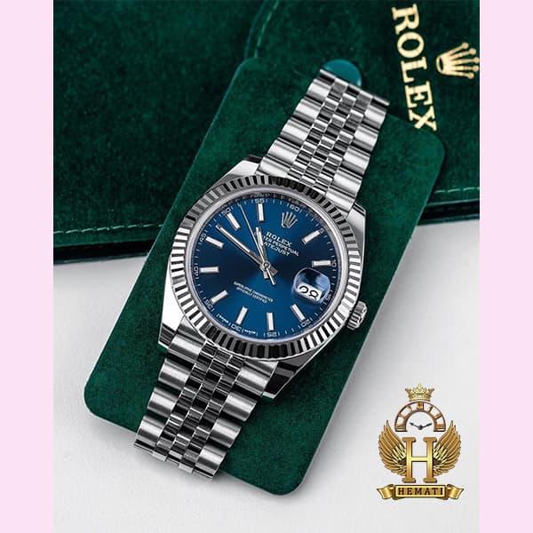 خرید اینترنتی ساعت مردانه رولکس دیت جاست اتوماتیک Rolex Datejust RODJAM101 قاب و بند نقره ای ، صفحه سرمه ای