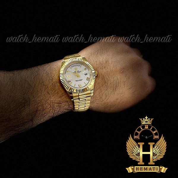خرید انلاین ساعت مردانه رولکس دی دیت اتوماتیک Rolex Daydate RODDAM202 طلایی ف صفحه سفید ، ایندکس یونانی