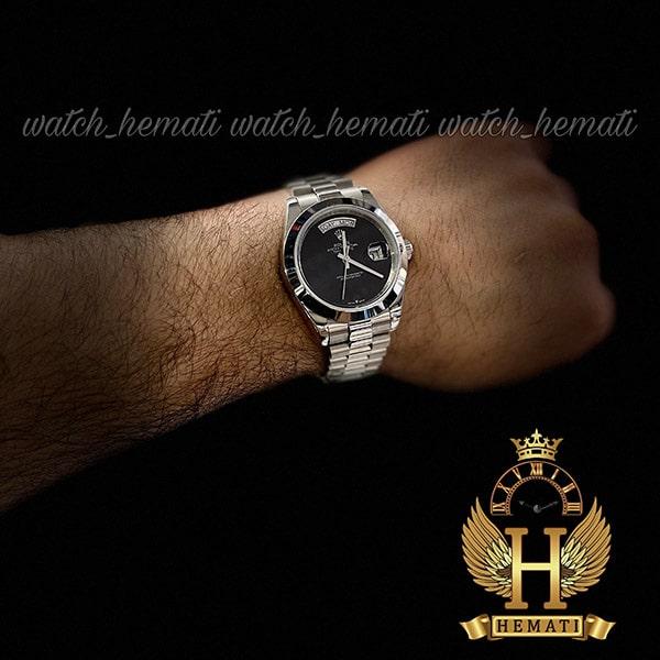 خرید ارزان ساعت مردانه رولکس دی دیت اتوماتیک Rolex Daydate RODDAM204 نفره ای ف صفحه ساده مهندسی مشکی