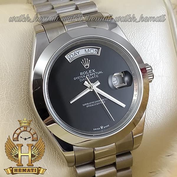 خرید ، قیمت ، مشخصات ساعت مردانه رولکس دی دیت اتوماتیک Rolex Daydate RODDAM204 نفره ای ف صفحه ساده مهندسی مشکی