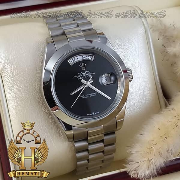 خرید انلاین ساعت مردانه رولکس دی دیت اتوماتیک Rolex Daydate RODDAM204 نفره ای ف صفحه ساده مهندسی مشکی