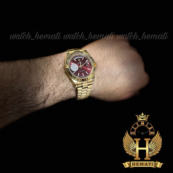ساعت مچی مردانه رولکس دی دیت اتوماتیک Rolex Daydate RODDAM201 طلایی ، صفحه قرمز