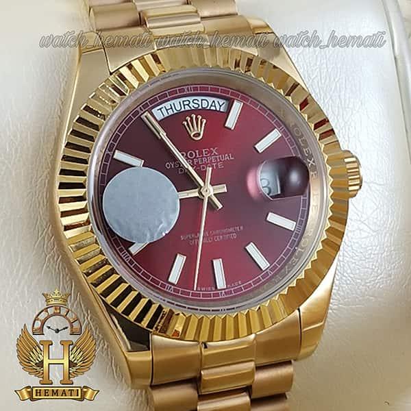 خرید ، قیمت ، مشخصات ساعت مردانه رولکس دی دیت اتوماتیک Rolex Daydate RODDAM201 طلایی ، صفحه قرمز
