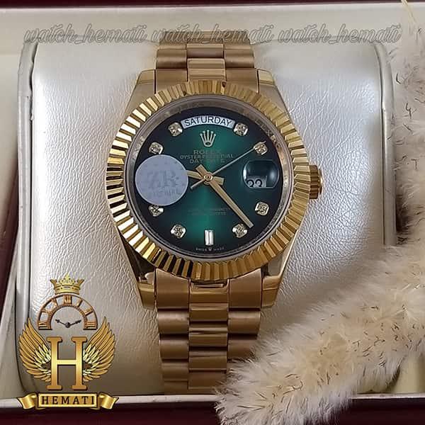 ساعت مردانه رولکس دی دیت اتوماتیک Rolex Daydate RODDAM205 قاب و بند طلایی ، صفحه سبز