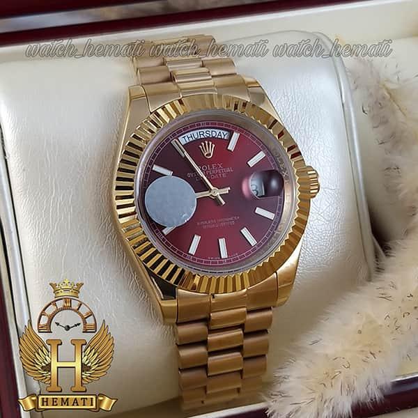 خرید ارزان ساعت مردانه رولکس دی دیت اتوماتیک Rolex Daydate RODDAM201 طلایی ، صفحه قرمز