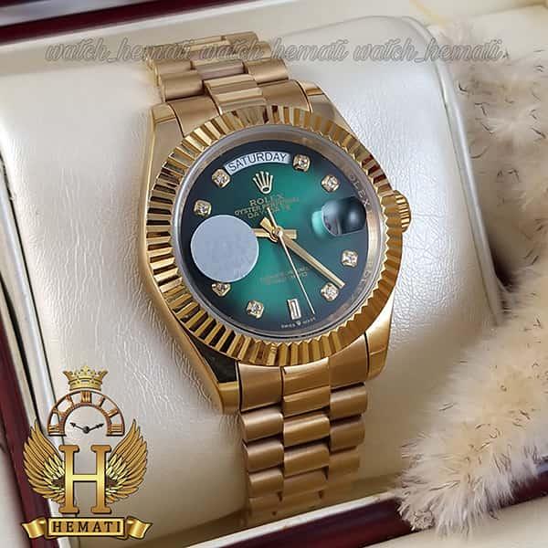 خرید ارزان ساعت مردانه رولکس دی دیت اتوماتیک Rolex Daydate RODDAM205 قاب و بند طلایی ، صفحه سبز