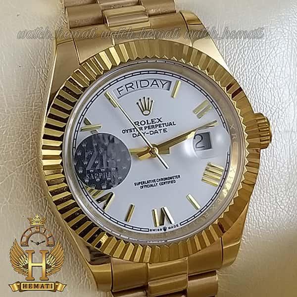 خرید ، قیمت ، مشخصات ساعت مردانه رولکس دی دیت اتوماتیک Rolex Daydate RODDAM202 طلایی ف صفحه سفید ، ایندکس یونانی