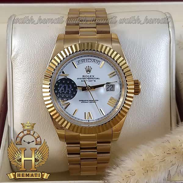 خرید اینترنتی ساعت مردانه رولکس دی دیت اتوماتیک Rolex Daydate RODDAM202 طلایی ف صفحه سفید ، ایندکس یونانی