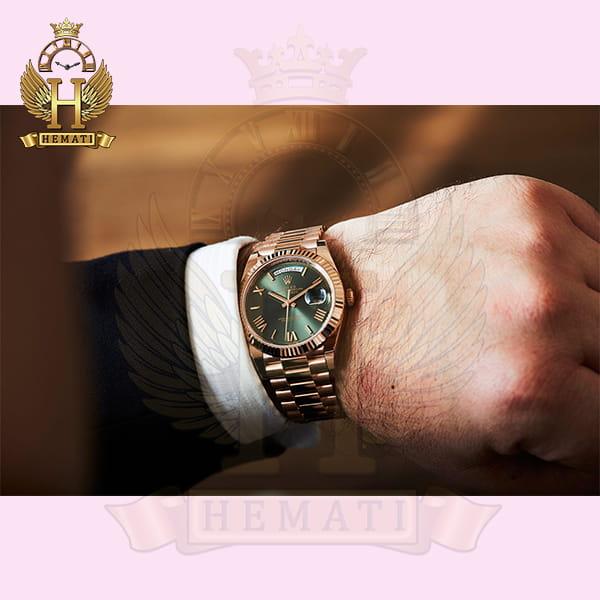 خرید ساعت مردانه رولکس دی دیت اتوماتیک Rolex Daydate RODDAM203 رزگلد ، رنگ صفحه سبز ، ایندکس یونانی