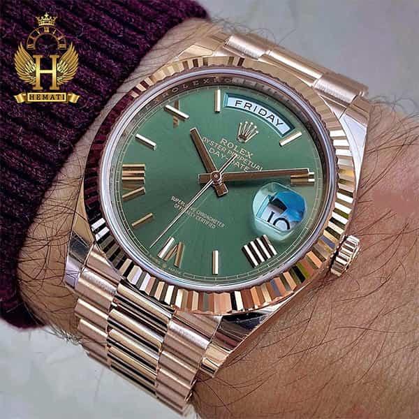 مشخصات ساعت مردانه رولکس دی دیت اتوماتیک Rolex Daydate RODDAM203 رزگلد ، رنگ صفحه سبز ، ایندکس یونانی