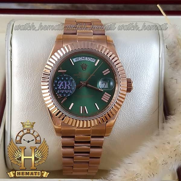 خرید اینترنتی ساعت مردانه رولکس دی دیت اتوماتیک Rolex Daydate RODDAM203 رزگلد ، رنگ صفحه سبز ، ایندکس یونانی