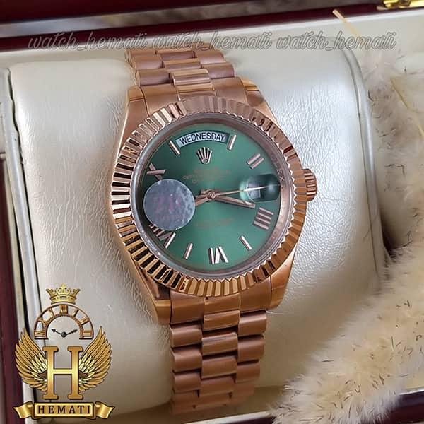 خرید ارزان ساعت مردانه رولکس دی دیت اتوماتیک Rolex Daydate RODDAM203 رزگلد ، رنگ صفحه سبز ، ایندکس یونانی