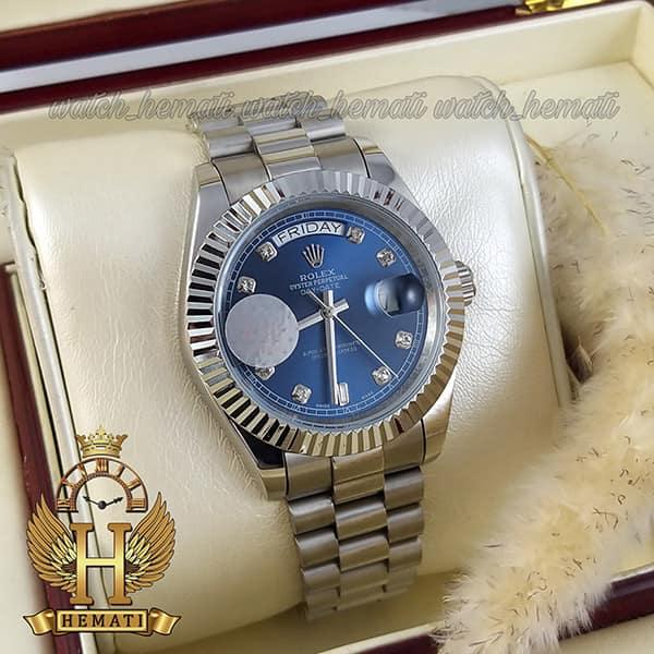 خرید ارزان ساعت مردانه رولکس دی دیت اتوماتیک Rolex Daydate RODDAM200 قاب و بند نقره ای ف صفحه سرمه ای